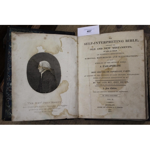 407 - Leather bound self interpreting Bible by the Late Reverend John Brown including plates, Volume II, p...
