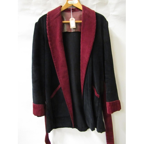 41 - Mid 20th Century burgundy and black corduroy gentleman's smoking jacket...