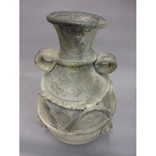 414 - Large early 20th Century baluster form frosted glass vase in Roman style with applied mask head and ...