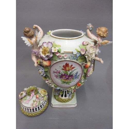 415 - Large late 19th Century Continental porcelain floral encrusted baluster form vase and cover with che...