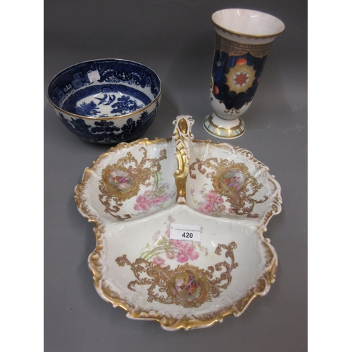 420 - French porcelain trefoil dish, a Royal Worcester Millennium vase and a blue and white Willow pattern...