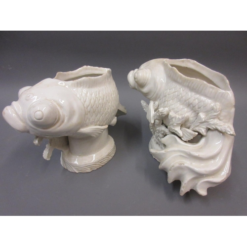 431 - Pair of Chinese style blanc de chine pottery fish vases, 5.5ins x 7ins approximately