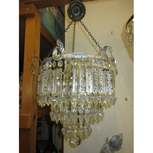 433 - Early to mid 20th Century silvered metal and cut glass three tier circular light fitting with prisma...