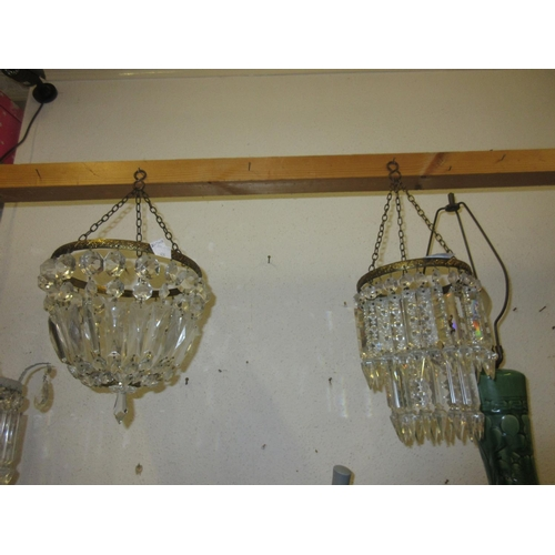 434 - Small early to mid 20th Century gilt metal and cut glass circular two tier light fitting, 8.5ins dro...