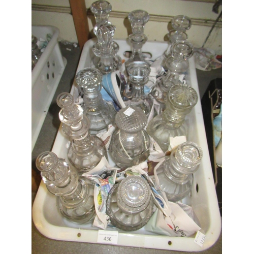 436 - Box containing a quantity of various antique decanters including one pair...