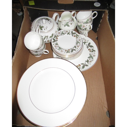 439 - Royal Albert Gossamer pattern part tea service together with a Wedgwood Strawberry pattern six place...