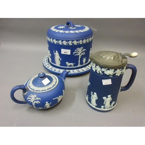 441 - 19th Century Wedgwood blue and white Jasperware stilton cover and stand (base at fault) together wit...