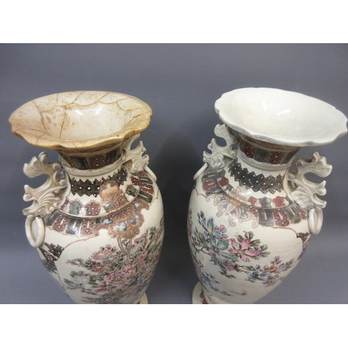 444 - Pair of Japanese Kyoto two handled baluster form vases decorated with flowers, 19ins high...
