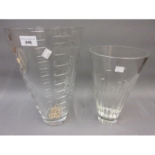446 - Large qood quality modern cut glass flower vase and a similar smaller vase by Stuart...