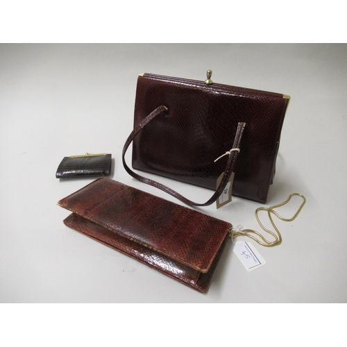 45 - Ladies vintage leather handbag, clutch bag and purse...