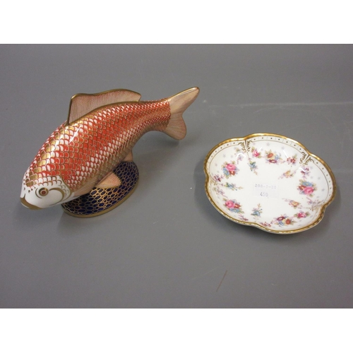 450 - Royal Crown Derby paperweight in the form of a fish, together with a small Royal Crown Derby Royal A...