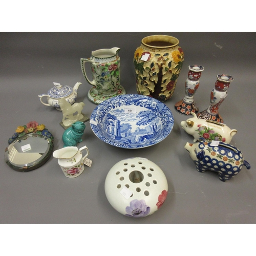 451 - Spode blue and white Italian pattern fruit bowl and a quantity of various decorative ceramics...