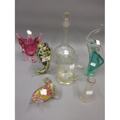 452 - Murano glass fish form vase, model of a seal and various other decorative glass including a decanter...