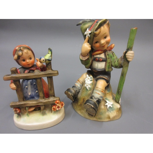 454 - Two Beswick figures of birds, Goebel figure of a seated boy, another of a girl at a gate and three s...