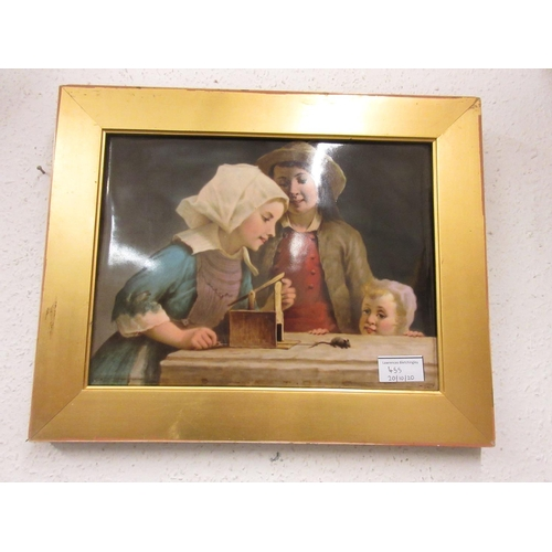 455 - 19th Century Continental porcelain plaque painted with three children playing with a mouse trap, uns...