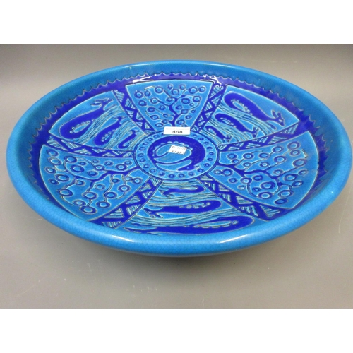 458 - Primavera Longwy charger decorated with stylised animals and trees, in blue glazed finish, 14.75ins ...