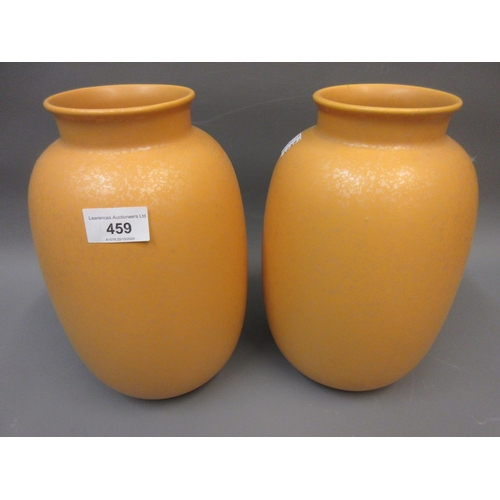 459 - Pair of Poole pottery ' Imperial Yellow Jewel ' baluster form vases, 10ins high