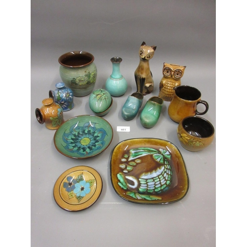 461 - Box containing a small collection of various Guernsey pottery items including dishes, vases etc.