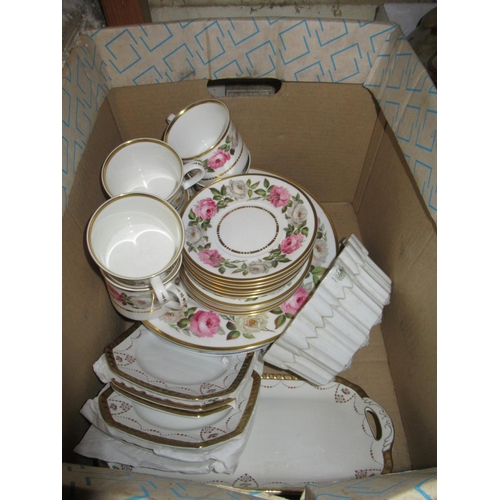 464 - Royal Worcester Pink Roses teaset including six cups and saucers with side plates and a cake plate, ...