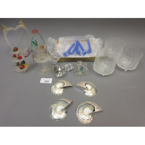 465 - Box containing a quantity of various glass figures including a quantity of Bimini flower table knife...