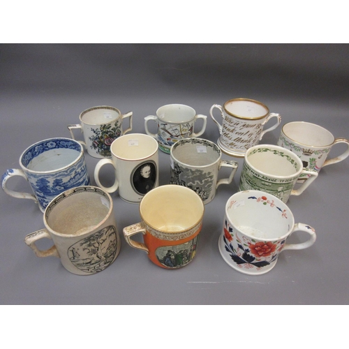 469 - Collection of eleven various 19th and 20th Century Staffordshire and other commemorative and motto m...