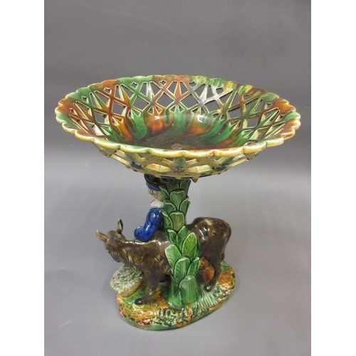 470 - 19th Century Continental Majolica comport, the basket top above a figure and donkey
