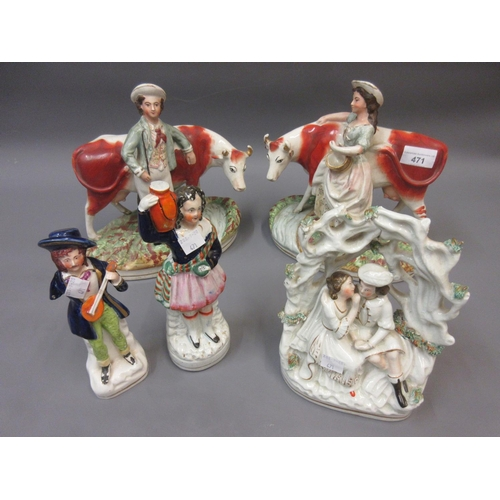 471 - Pair of 19th Century Staffordshire groups of figures with cows (at fault), together with three other...