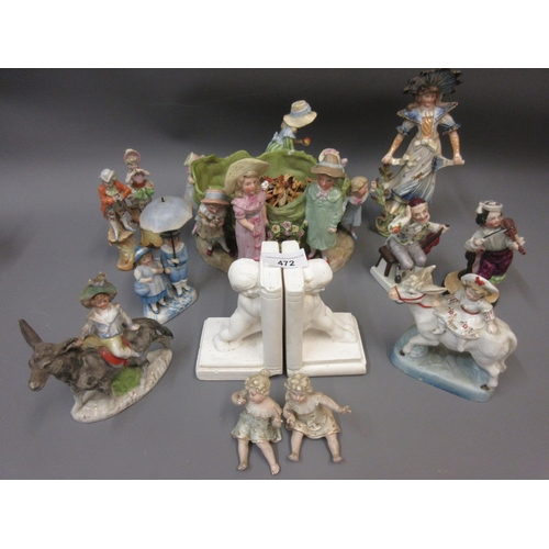 472 - Late 19th Century Continental porcelain bowl, the supports in the form of figures, together with a q...