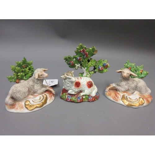 478 - Pair of Samson Chelsea figures of sheep, similar Staffordshire figure and a pair of Coalport floral ...