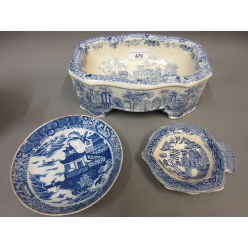 479 - 19th Century blue and white transfer printed dog bowl (at fault), together with a small quantity of ...