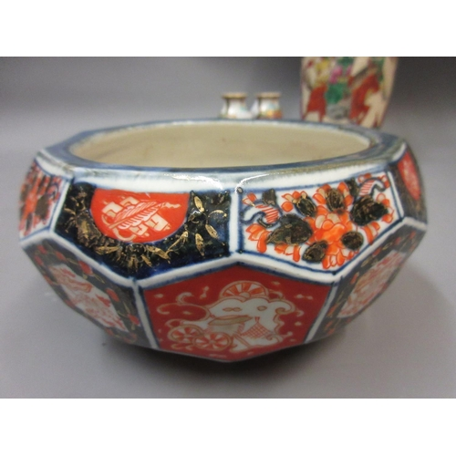 480 - Chinese crackleware baluster form vase, Canton bowl, an Imari bowl and other items of oriental porce...