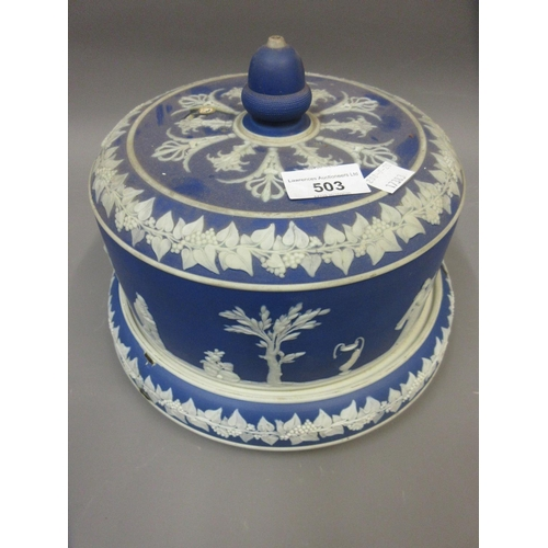 503 - Wedgwood green Jasperware teaset, a blue Jasperware stilton cover and stand (at fault), together wit...
