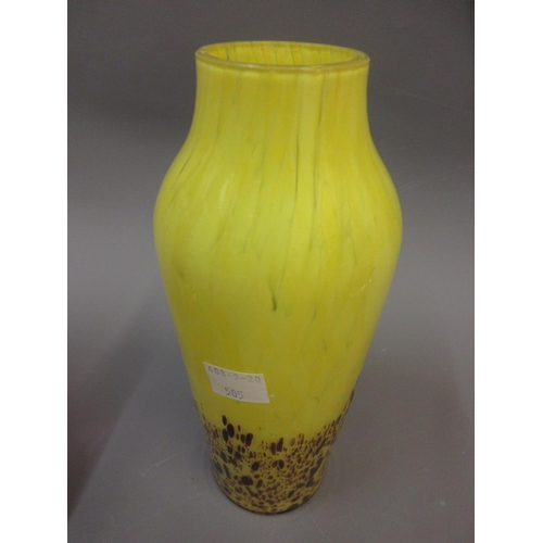 505 - Mid 20th Century Murano cranberry and clear glass vase, a similar ashtray and a yellow Art Glass vas...