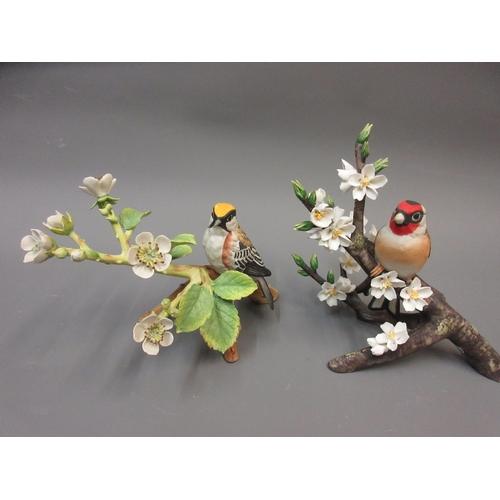 506 - Royal Crown Derby figure of a barn owl, together with three similar Franklin porcelain figures of bi...