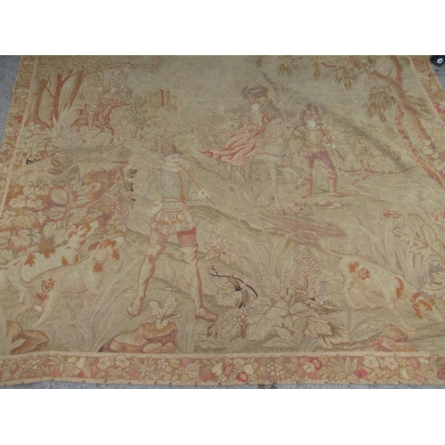 56 - Late 19th / early 20th Century woolwork tapestry depicting huntsman with dog and lady on horseback w...