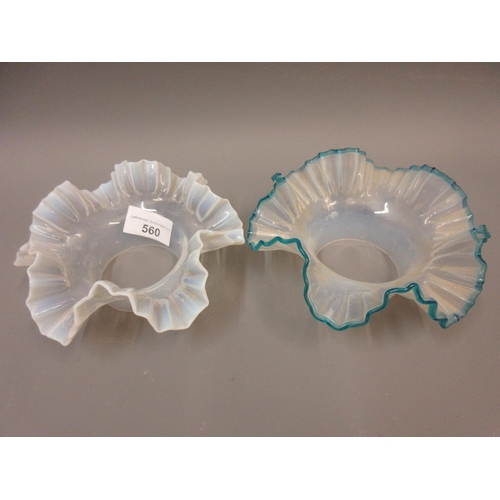 560 - Two 19th Century vaseline glass shades with frilled rims