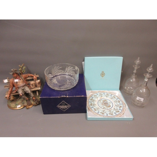 562 - Pair of Edwardian decanters with stoppers, Edinburgh crystal cut glass bowl, collector's plate in or...