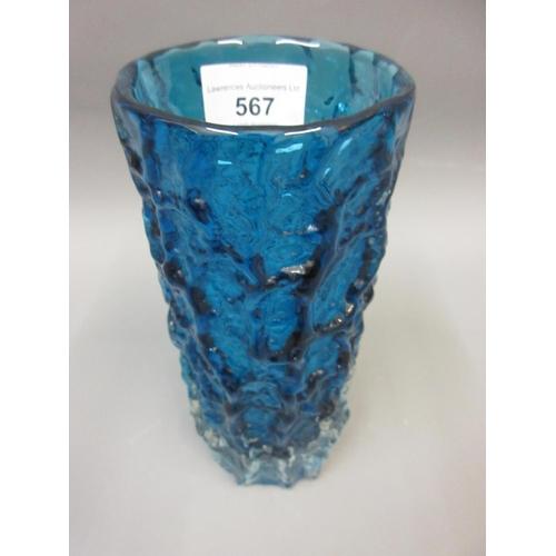 567 - Whitefriars blue bark form cylindrical vase, 8ins high