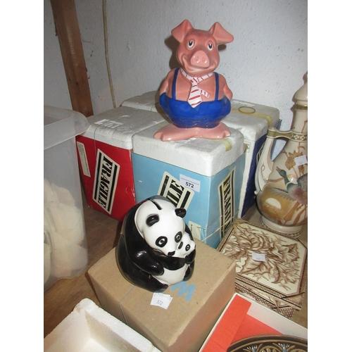 572 - Set of five National Westminster piggy banks and a National Westminster panda money box