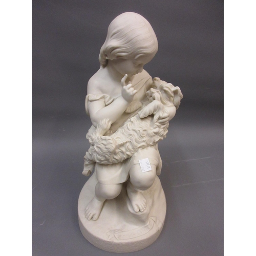 593 - 19th Century Copeland Parian group, ' Go To Sleep ', a seated child with a dog, 17.5ins high