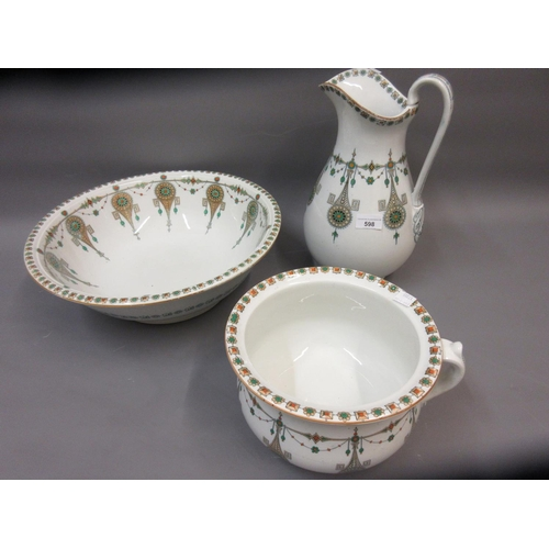 598 - Early 20th Century pottery jug and basin with matching chamber pot
