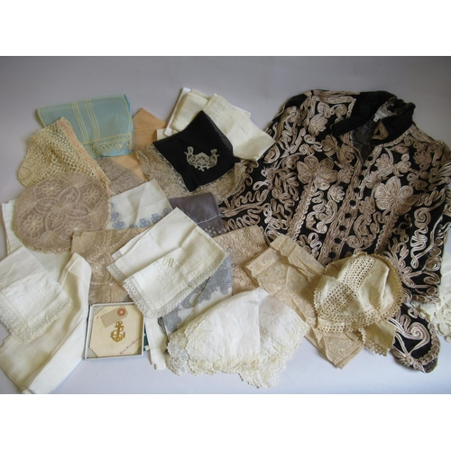 60 - Quantity of Victorian and Edwardian lace, crochet and silkwork, a floral embroidered silk ladies jac...