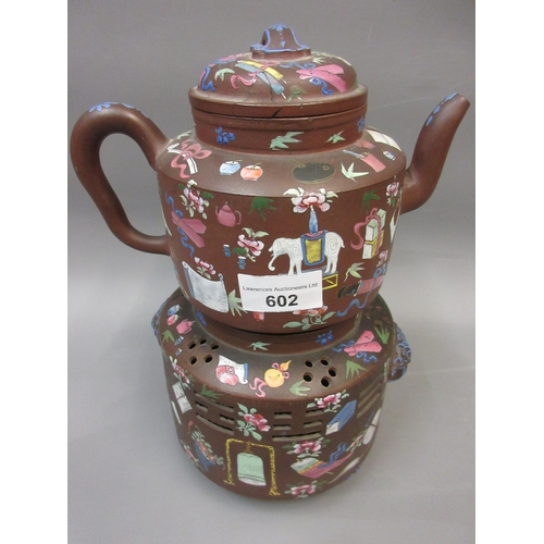 602 - 19th Century Chinese terracotta teapot and stand decorated in famille rose palette