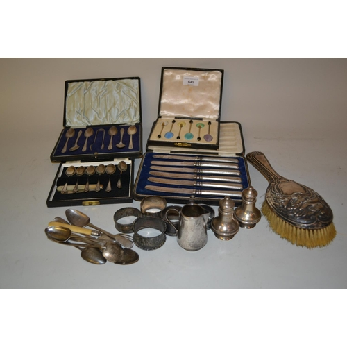 649 - Four sets of silver cased spoons and other items of silver...