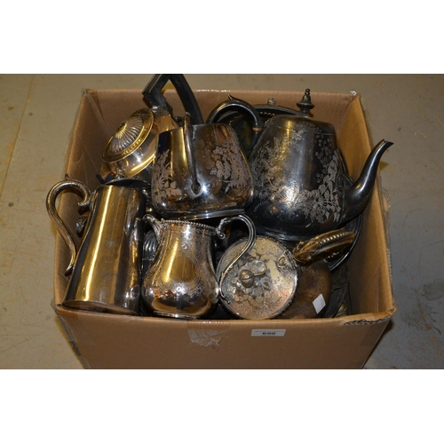650 - Box containing a quantity of silver plate including teasets etc...