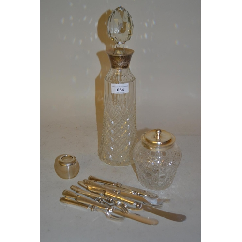 654 - Silver mounted cut glass decanter with stopper,  silver mounted cut glass preserve jar and cover, si...