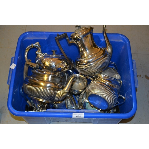 655 - Silver plated teapot, similar coffee pot, quantity of other miscellaneous silver plate...