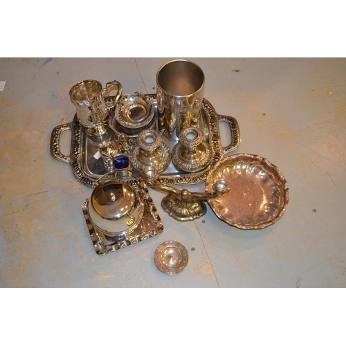659 - Silver plated wine cooler, a bottle coaster, miscellaneous other silver plated items and a miniature...