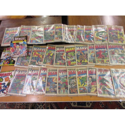 66 - Collection of U.K. issue Marvel comics including No. 3, 1972, together with three 1973 Avengers comi...