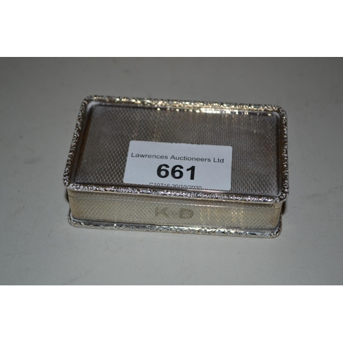 661 - Good quality rectangular Birmingham silver snuff box with engine turned decoration and cast borders...
